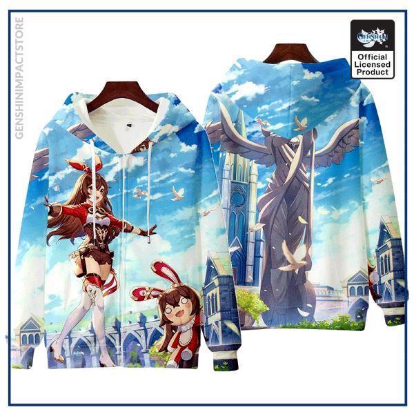 Anime Genshin Impact Keqing Fischl Hooded Hoodie Sweatshirt Coat Loose Autumn New Men Women Student Harajuku 2 - Genshin Impact Store