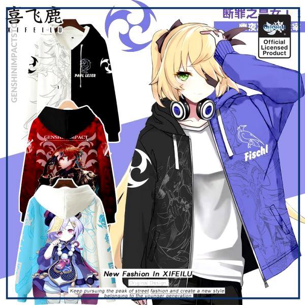 Anime Genshin Impact Keqing Fischl Hooded Hoodie Sweatshirt Coat Loose Autumn New Men Women Student Harajuku - Genshin Impact Store