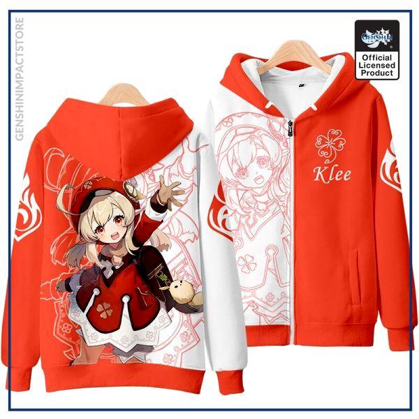 Anime Genshin Impact Klee Mondstadt Fashion Loose Hooded Hoodie Coat Men Women Student Harajuku Jacket Pullover 2 - Genshin Impact Store