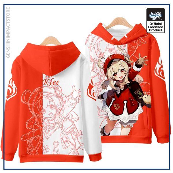 Anime Genshin Impact Klee Mondstadt Fashion Loose Hooded Hoodie Coat Men Women Student Harajuku Jacket Pullover 3 - Genshin Impact Store