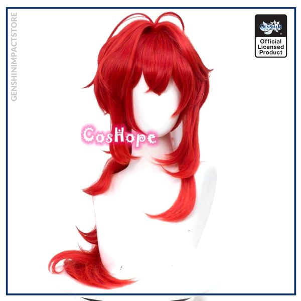 Genshin Impact Diluc Cosplay 60cm Long Red Wig Cosplay Anime Cosplay Wigs Heat Resistant Synthetic Wigs 1 - Genshin Impact Store