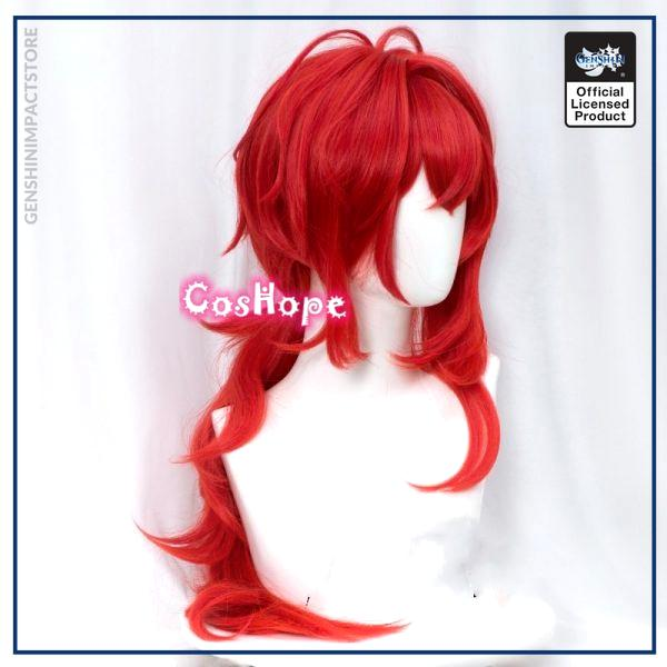 Genshin Impact Diluc Cosplay 60cm Long Red Wig Cosplay Anime Cosplay Wigs Heat Resistant Synthetic Wigs 2 - Genshin Impact Store