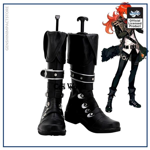 Genshin Impact Diluc Ragnvindr Games Customize Cosplay Low Heel Shoes Boots - Genshin Impact Store