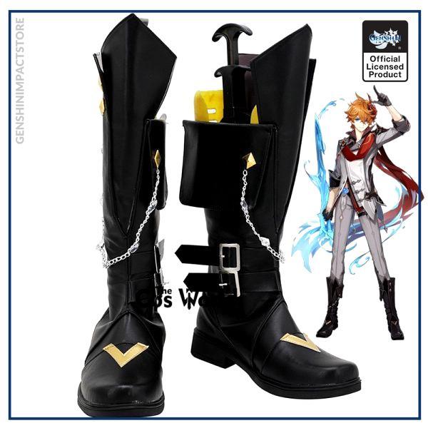 Genshin Impact Liyue Harbor Tartaglia Games Customize Cosplay Low Heels Shoes Boots - Genshin Impact Store