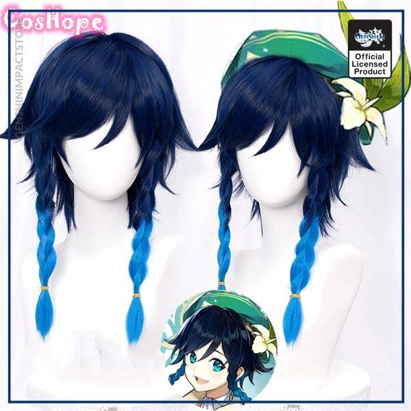 Genshin Impact Venti Cosplay Unisex 50cm Blue Wig Cosplay Anime Cosplay Braid Wigs Heat Resistant Synthetic - Genshin Impact Store