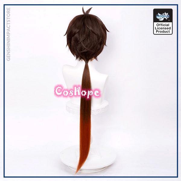 Genshin Impact Zhongli Cosplay 90cm Long Christmas Brown Orange Wig Cosplay Anime Wigs Heat Resistant Synthetic 3 - Genshin Impact Store
