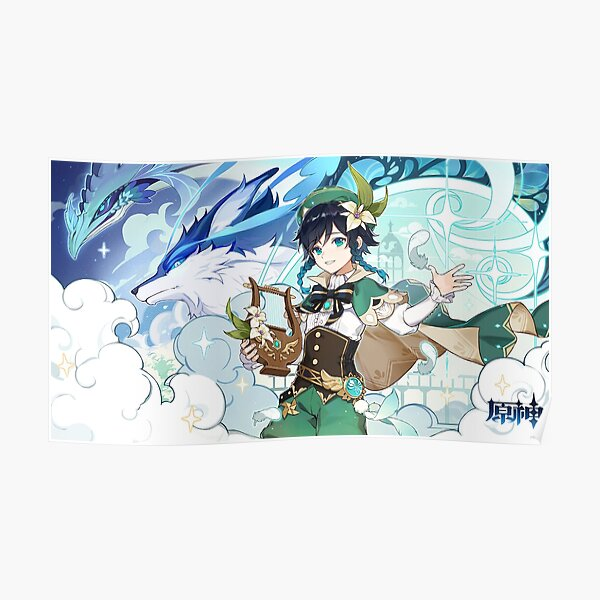 Genshin Impact - Venti, Dvalin and Wolf of The North Official Artwork Poster RB1109 product Offical Genshin Impact Merch