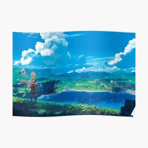 Genshin Impact Landscape Paimon Game 2020 Poster RB1109 product Offical Genshin Impact Merch